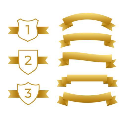 ensemble de rubans et étiquettes d'or