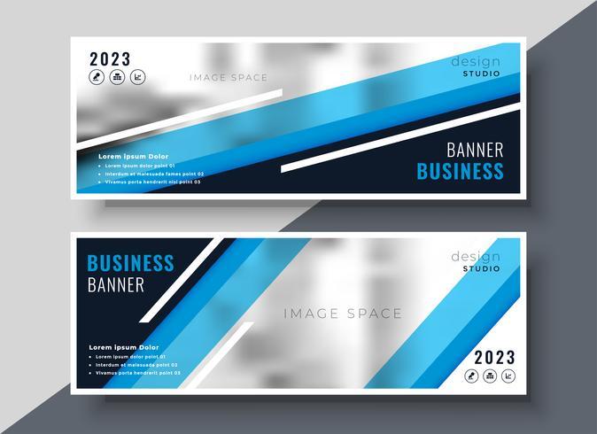 abstrakt geometrisk blå affärer banners design