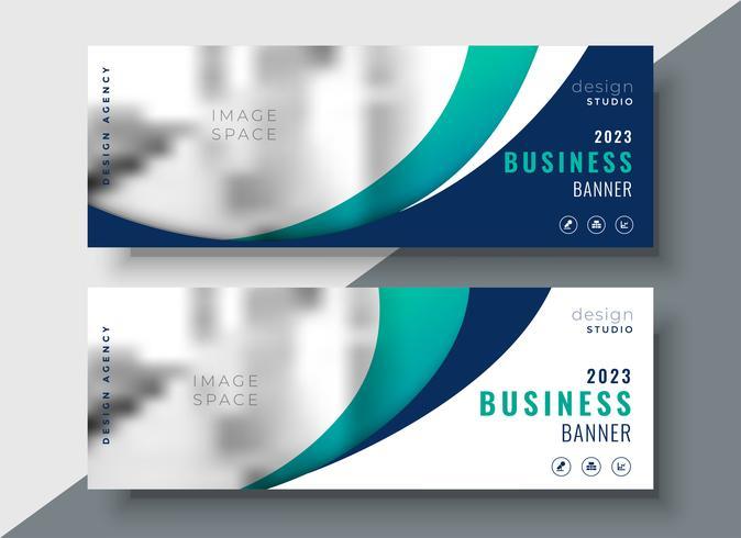 Resumen ondulado dos negocios web diseño de banners