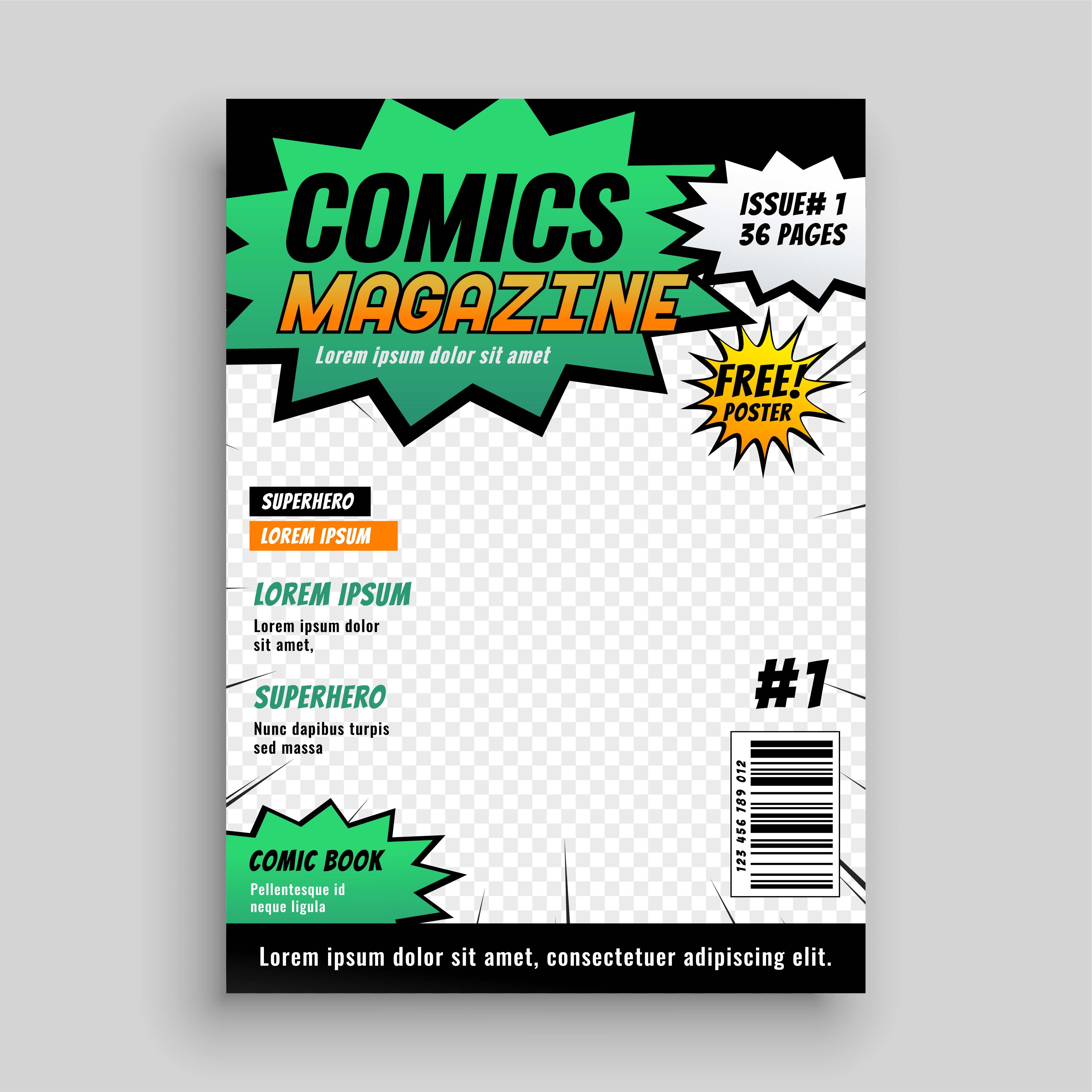 Comic Book Cover Layout : Layout design of comic book cover download free vector