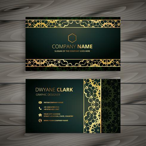 diseño de tarjeta de visita dorada abstracta