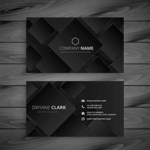 diseño de tarjeta de visita negro oscuro
