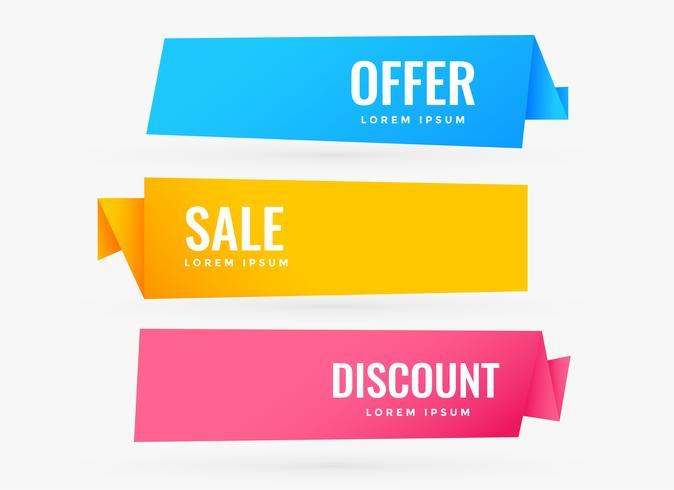 tre försäljningsbannor med olika färger
