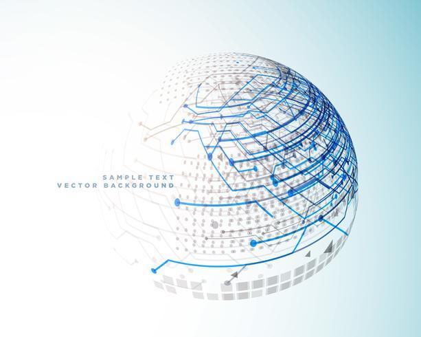 líneas digitales de tecnología en estilo esfera 3d