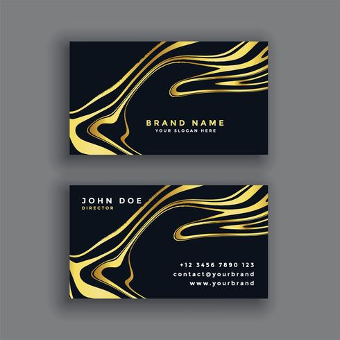 carte de visite abstraite de luxe noir et or
