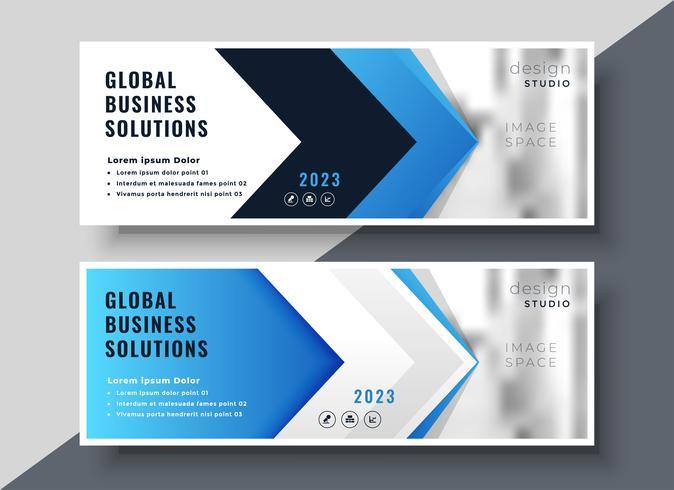 blå pilstil företagspresentationsbanner
