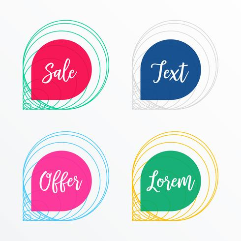 banner de venta creativa o conjunto de etiquetas