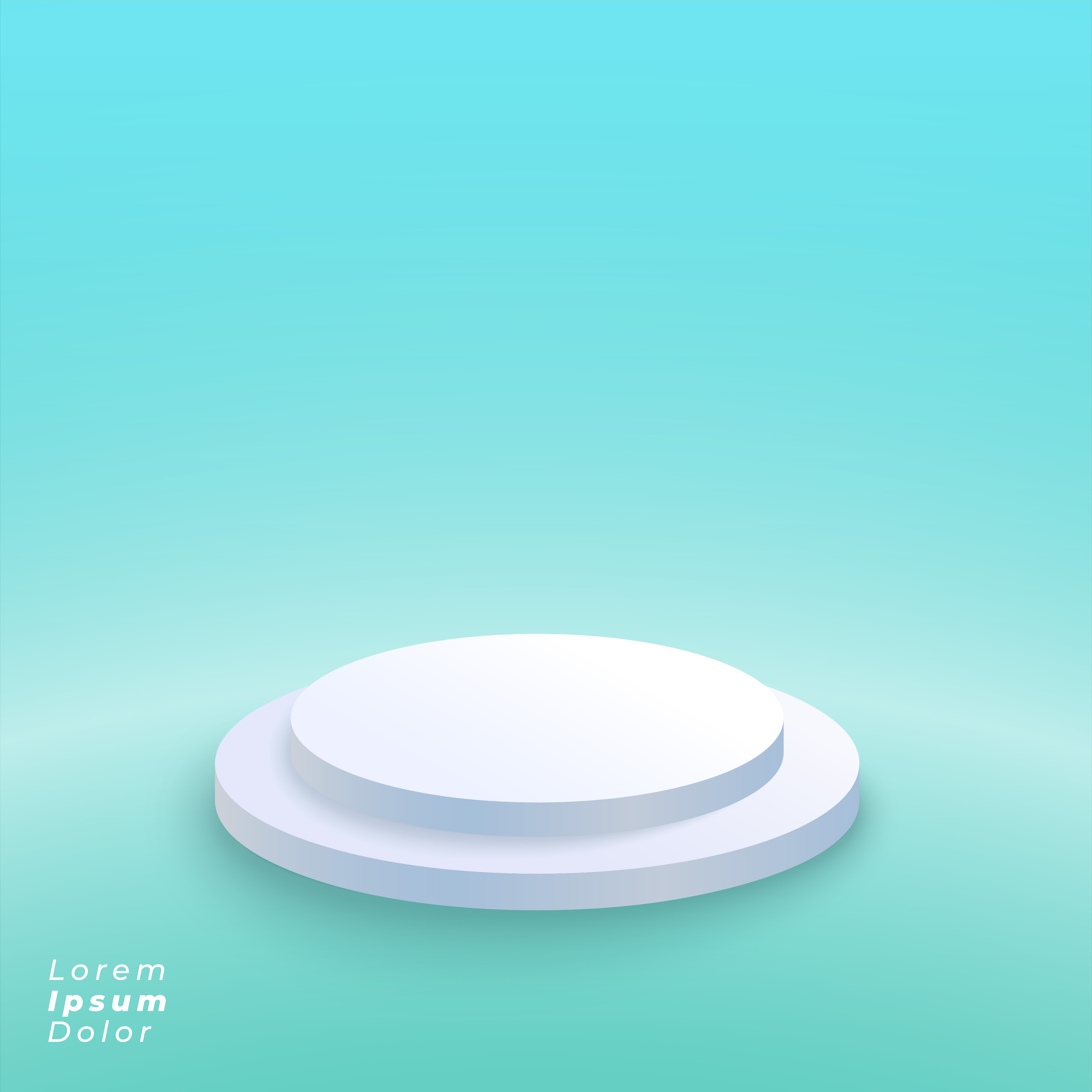 White Studio Background With Podium: Podium Platform On Blue Studio Background