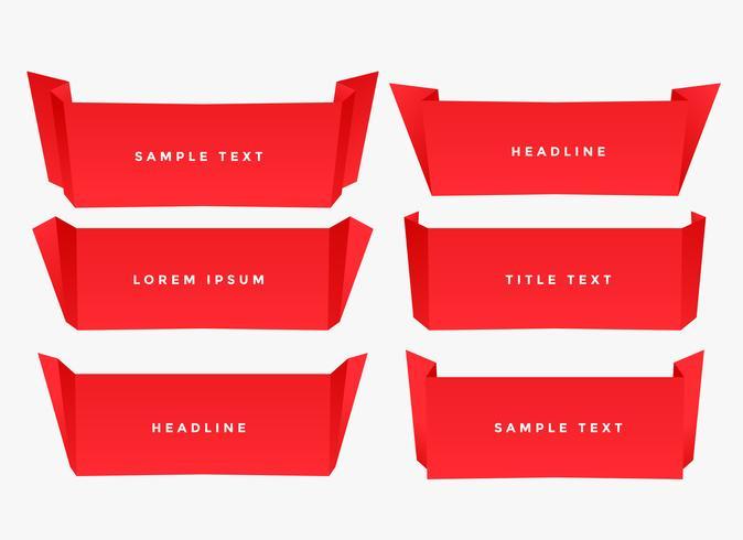 röda papper vik origami stil banner