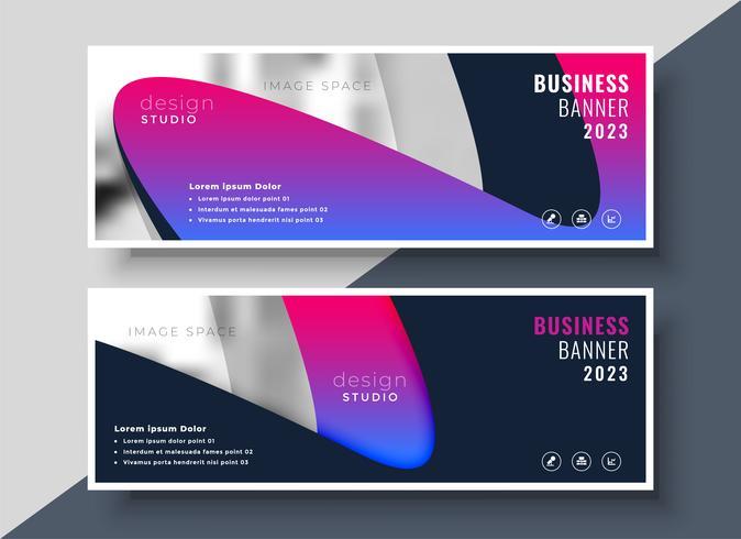 banners de negocios modernos vibrantes con espacio de imagen