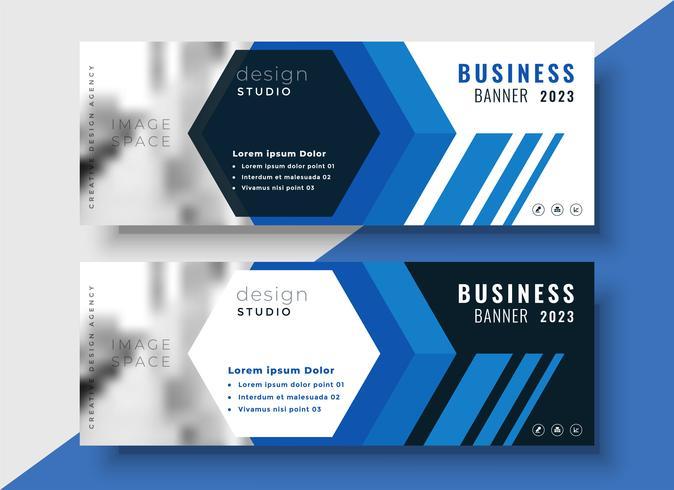 banners de negócios azul geométricos cravejado de espaço de imagem