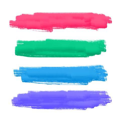 ensemble de quatre coups de pinceau peints à la main