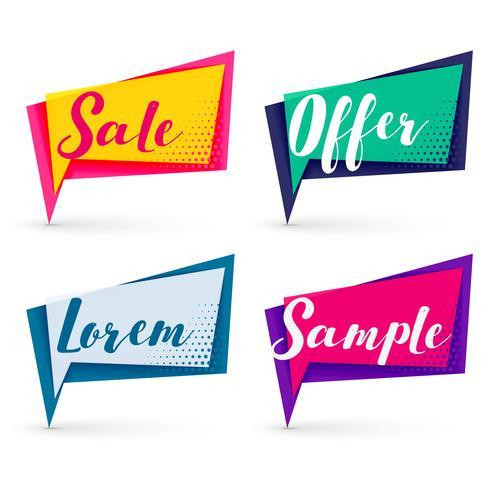 Bannières de vente moderne de différentes couleurs