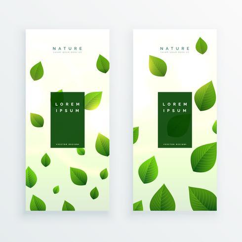 schöne grüne Blätter vertikale Banner-Karte