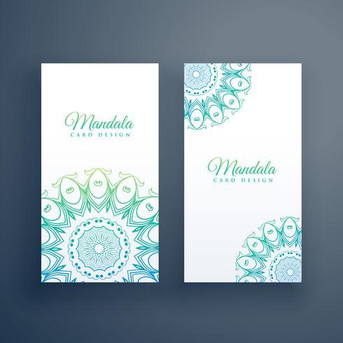 elegante fondo de tarjetas blancas mandala