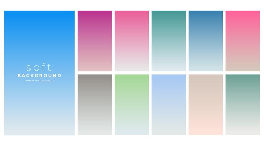 conjunto de swatch de cores gradientes suaves