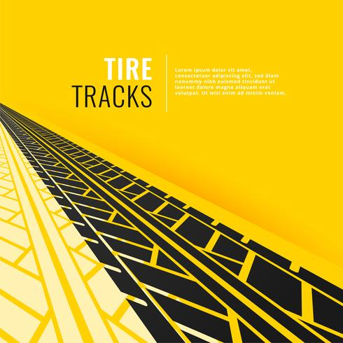 tire tracks in perspective om yellow background
