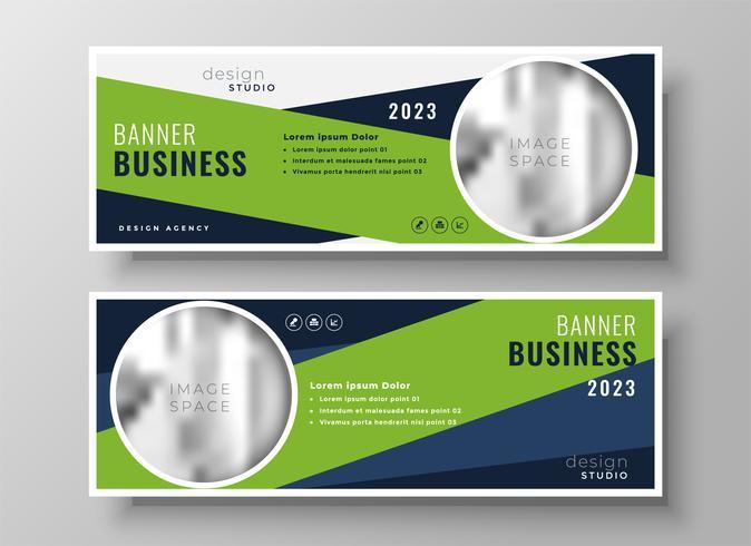 banners de negocios geométricos verdes con espacio de imagen