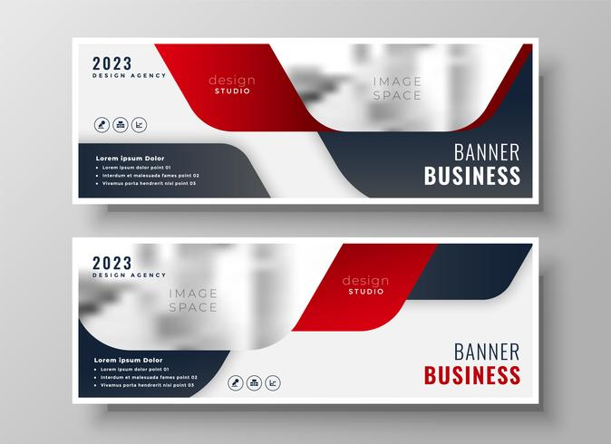 uppsättning av två affärer banners i rött tema