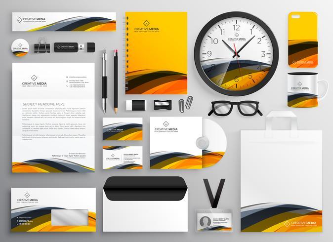 abstrakt gul modern varumärkesidentitet affär brevpapper