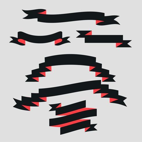 ensemble de ruban de style plat noir et rouge