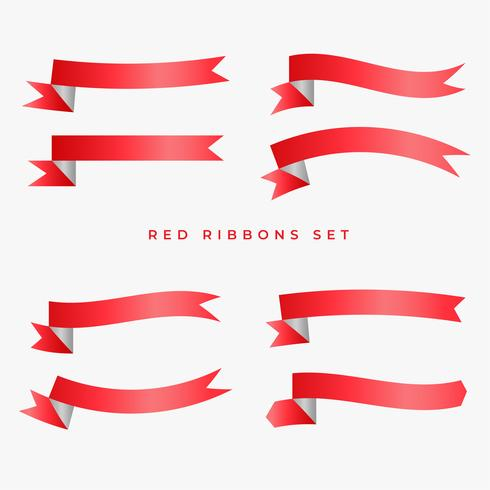 red ribbon banners set design
