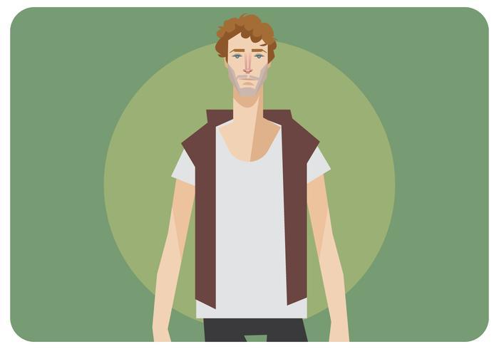 Rizado, hombre, con, camiseta en blanco, vector