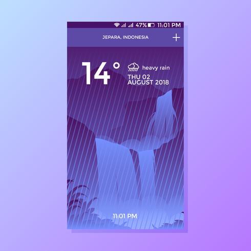 Heavy Rain Weather App Screen Vector