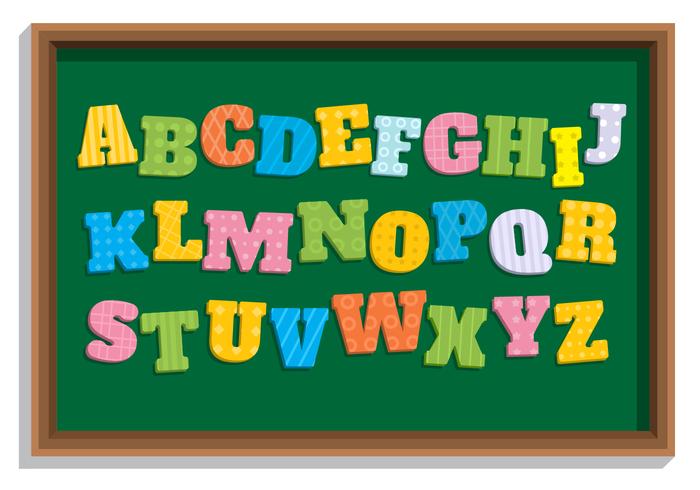 Alfabeto temático de la escuela de estilo plano