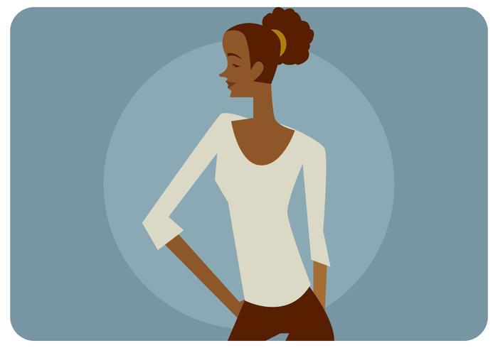 Chica negra como una camiseta Modelo vectorial