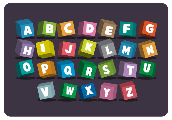 Alfabeto temático de la escuela de estilo 3D