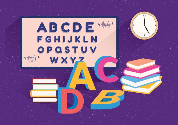 School Themed Alphabet Vector