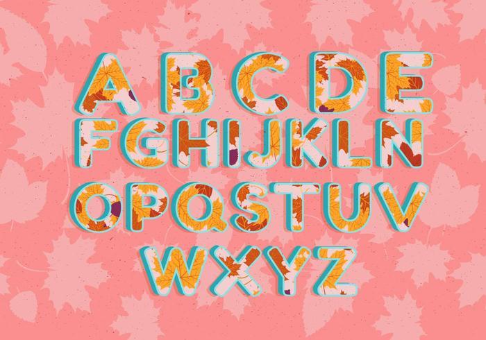 Otoño alfabeto ilustración vectorial