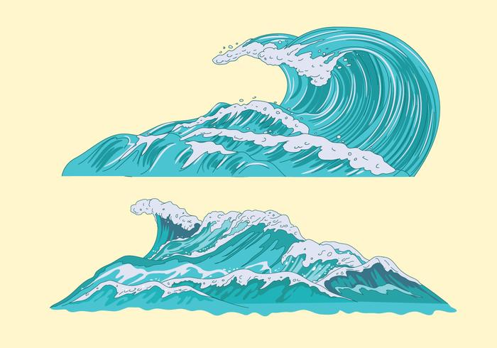 Set Illustration of a Sea with Giant Waves