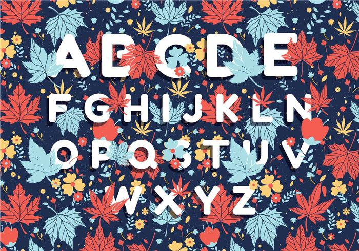Autumn Alphabet Pattern Design Vector
