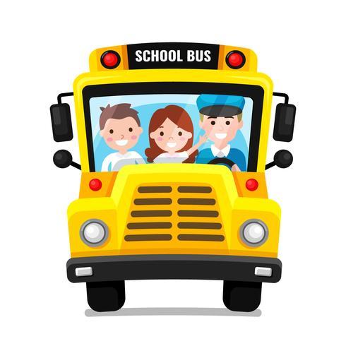 Vista frontal del autobús escolar Vector