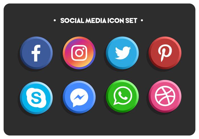Conjunto de ícones simples colorido de mídias sociais vetor