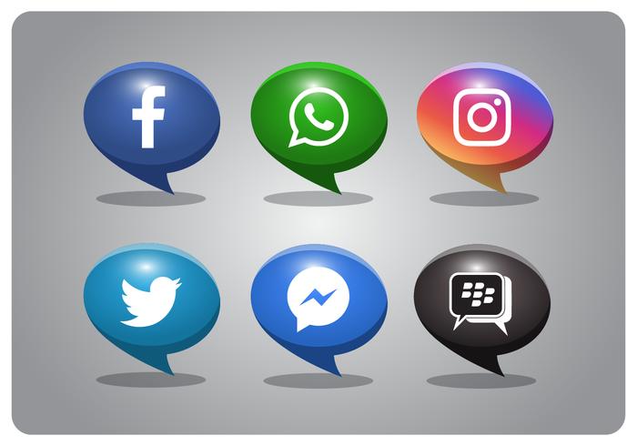 bubbla stil sociala medier ikoner uppsättning