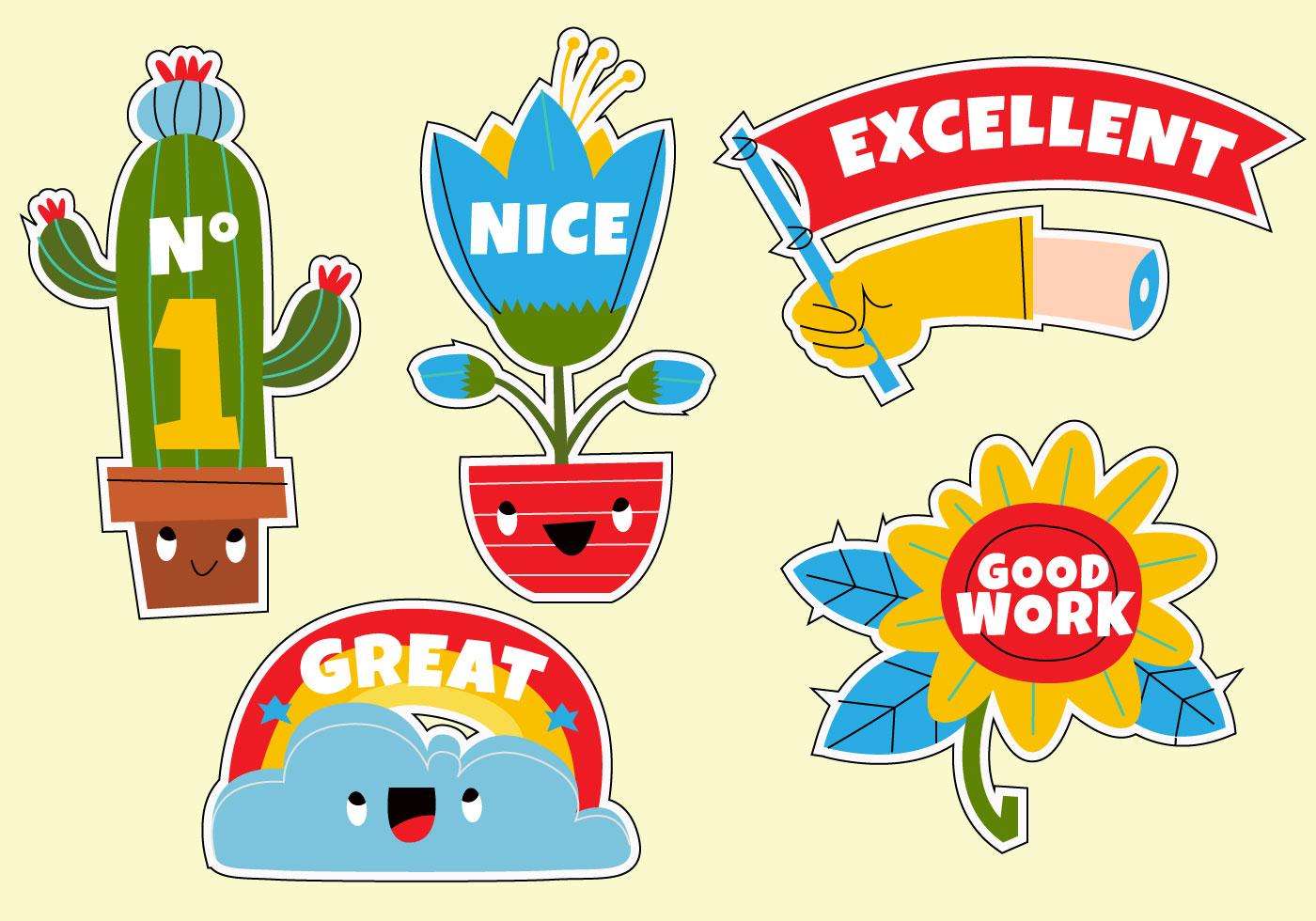 Funny Cute Cartoon Teacher's Reward Sticker Set vector ...