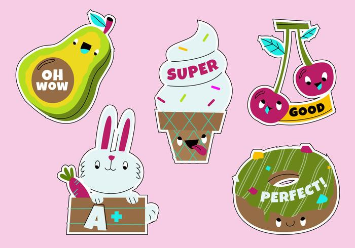 Funny Cartoon Teacher's Reward Sticker Set vector Illustration