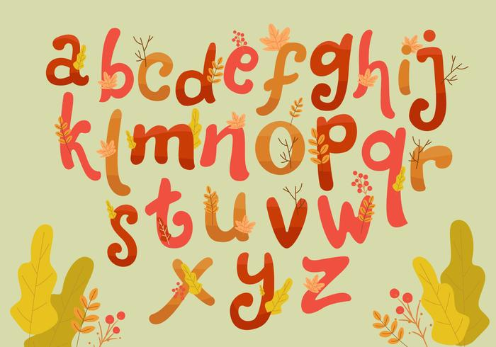 Höst Hand Drawn Style Lettering Vector Set Alphabet
