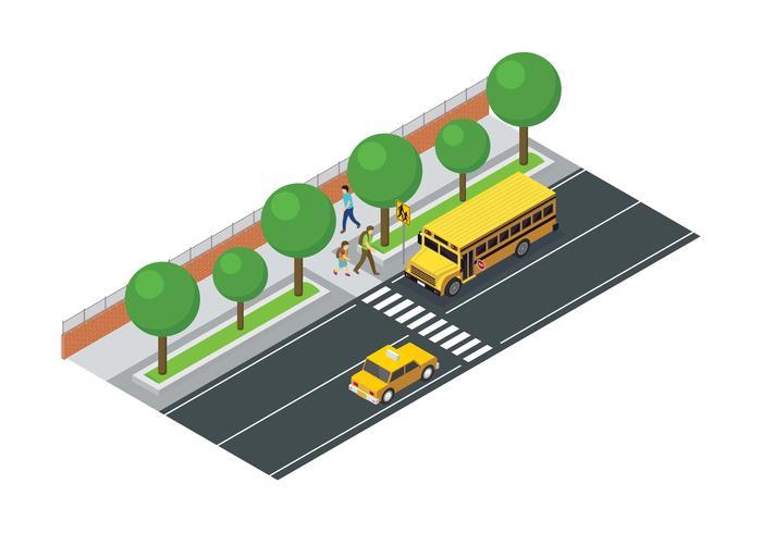 Vector isométrico del autobús escolar