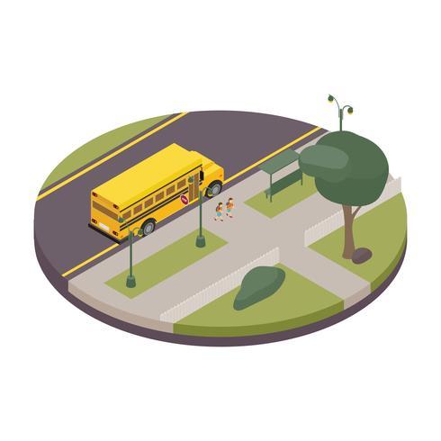 Autobús escolar isométrico