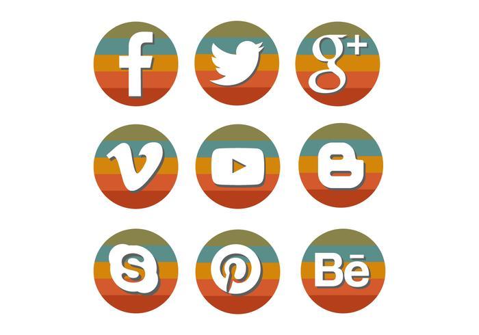 Conjunto de iconos de redes sociales retro arco iris