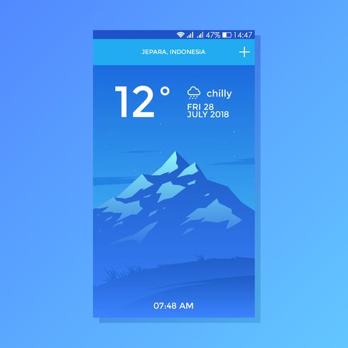 Vector de diseño de pantalla de Chilly Mountain Background Weather App Vector