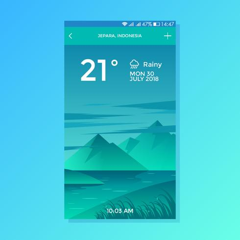 Rainy Lake Background Weather App Vector de diseño de pantalla