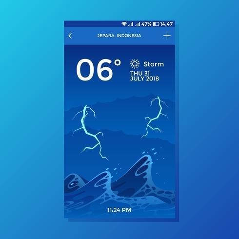 Vettore di progettazione di schermo di app del tempo del fondo dell'onda della tempesta