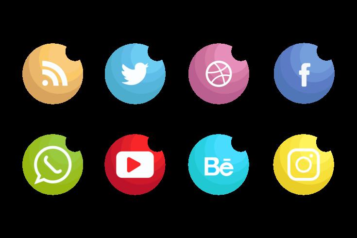 Icônes de médias sociaux Set Vector