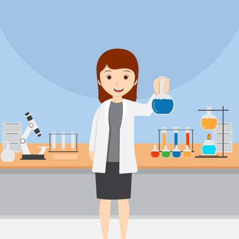 Ilustração em vetor feminino cientista