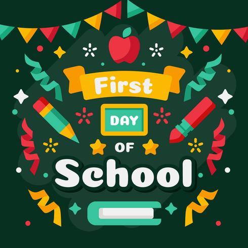 Första dagen av skolvektor